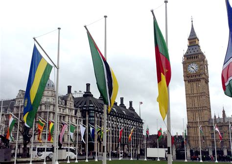 File:Flags of the Commonwealth flying in Parliament Square