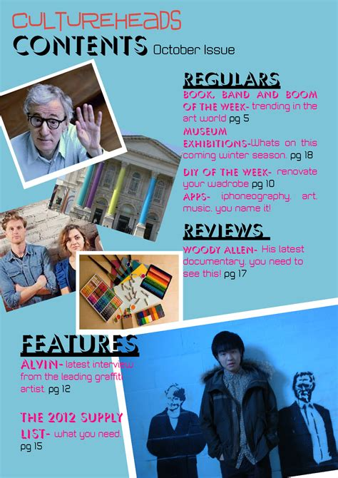 School Magazine Cover & Contents Page Evaluation   cami