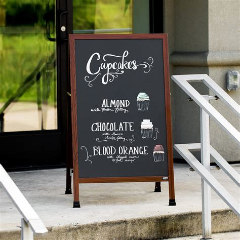 """Aarco MA-1B 42"""" x 24"""" Cherry A-Frame Sign Board with Black"""