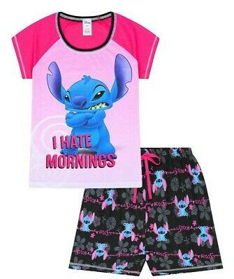Womens Disney Lilo and Stitch I HATE MORNINGS SHORT Ladies