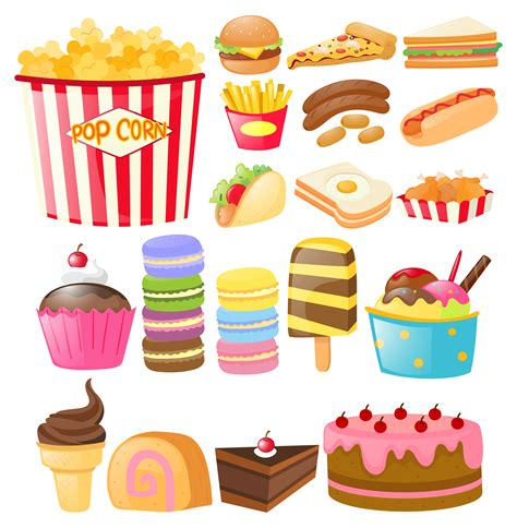 Food set with fastfood and desserts - Download Free