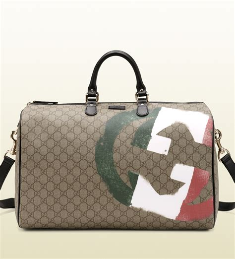 Gucci Italy Gg Flag Collection Duffle Bag in Beige (Gray