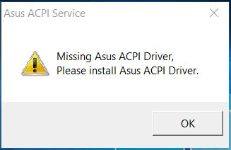 ASUS ACPI SERVICE MISSING TOUCHPAD DRIVER