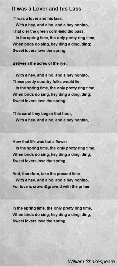 It Was A Lover And His Lass Poem by William Shakespeare