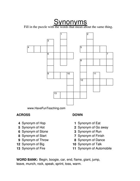 Synonym Crossword Puzzle Worksheet • Have Fun Teaching